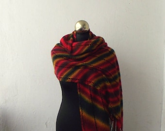 Multicolor hand knitted shawl,striped knit scarf