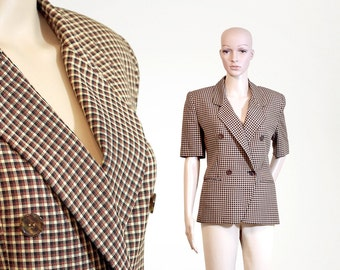 classic retro plaid jacket 80s 1980s vintage short sleeves blazer brown beige mustard suit jacket size womens XSMALL