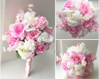 Five Wedding Flower Bouquets Pink