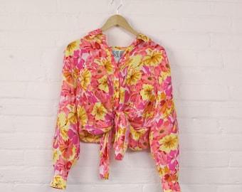 Bright Silk Floral Blouse · Silk Blouse Large · Tie Up Silk Blouse · Womens Floral Blouse · Flower Print Top · Long Sleeve Silk Shirt · M