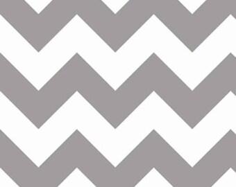 Riley Blake - Large Gray & White Chevron - 1/2 yard fabric - by Boutique Mia