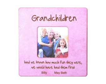 Grandkids Picture Frame- Grandparents Gift Frame-Best Parents Gift-Grandparents Picture Frame- 8x8 Overall Size