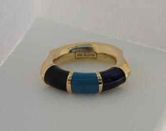 14k Yellow Gold Multi-Color Enamel Ring