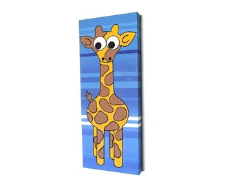 Giraffe Nursery Art - original acrylic painting of a cute cartoon giraffe on a striped blue background