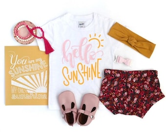Hello Sunshine Tee | Hello Sunshine Girls Tee | Cute Toddler Shirts | Gifts For Kids | Toddler Shirts For Spring | Summer Shirts For Kids
