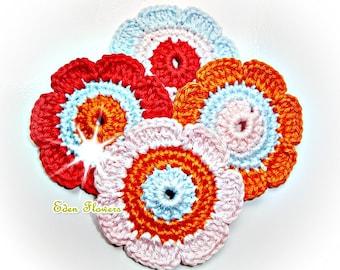 Crochet Flowers  ref   X116   4 Flowers