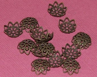 100 pcs of Antiqued  brass  filigree bead caps 12mm