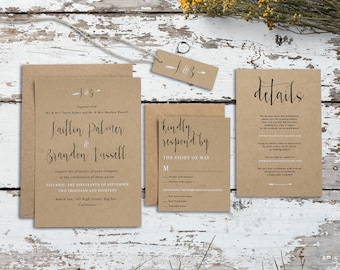 Krafted Promise Eco Kraft Wedding Invitation Set - Rustic Wedding Invitations - Sample Pack or Deposit - Wedding Invitations by Pineapple