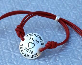 Gomother Sterling Silver and Leather Adjustable Bracelet