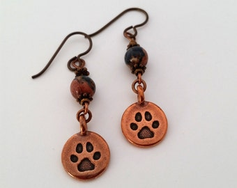 Paw Charm Earrings Pawprint Earrings Paw Earrings Dog Mom Pet Mom Cat Mom Pet Mothers Day Gift Copper Jewelry Niobium Fire Monkey Diva