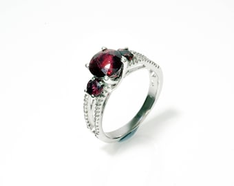 Rubellite 18k White Gold Ring, Rubellite and diamonds ring, Rubellite engagement ring, Rubellite tourmaline ring, Solid gold rubellite ring