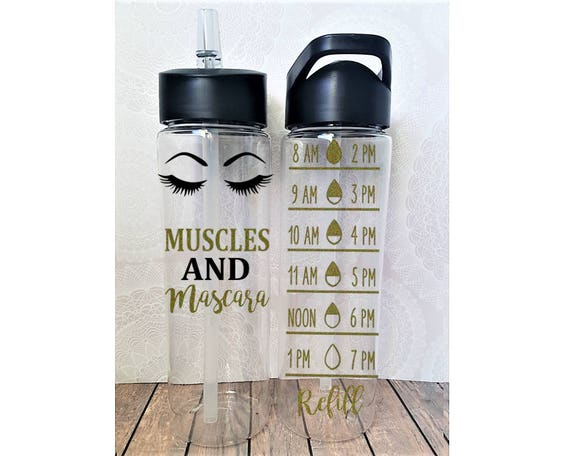 Muscles And Mascara, Muscles Water Bottle, Cute Water Tracker, Fitness Water Bottle, Gym Stocking Stuffer, Fitgirl, Glitter Water Bottles by Etsy