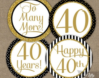 40th Anniversary Cupcake Toppers - 40th Anniversary Party Decorations - Printable Black & Gold 40th Year Anniversary Toppers - BGL