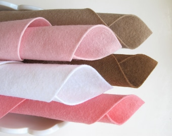 Wool Felt Assortment, Pink and Brown, DIY Craft Supply, Pastel Felt, Baby Colors, Optional DMC Matching Floss, Hair Bows, Applique, DIY