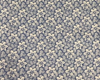 3 Yards of Vintage Blue and Taupe Floral Print Cotton Fabric