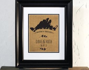 Martha's Vineyard Wedding Sing, Massachusetts map. Custom couple name burlap sign. Gift for wedding or anniversary. Unframed.