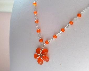 Orange Flower Girl Necklace, Carnelian Gemstone, Child, Children, Wire Wrapped Flower Pendant, Sterling Silver, Wedding Jewelry