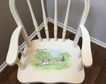 bow back child's rocker, bunny rocking chair, hand painted rockers, kids rocking chairs