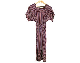 Pierre Balmain 80s day dress - vintage striped short sleeve dress from the 1980s with dolman boxy sleeves for spring summer fall