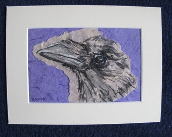 Crow mixed media artwork