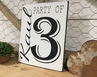 Family Number Sign - Farmhouse Number Sign - Family Gift Ideas - Party Of - Personalized Gift for Family - Farmhouse Decor - Gifts for Wife