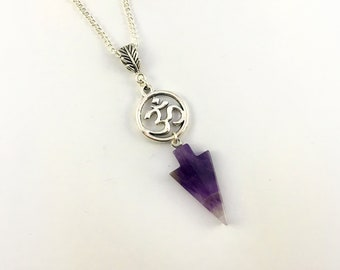 Amethyst Arrow Pendant with Om Charm on Silver Plated Chain -  Amethyst Necklace, Amethyst Pendant, Om Necklace, Om Pendant, Healing Crystal
