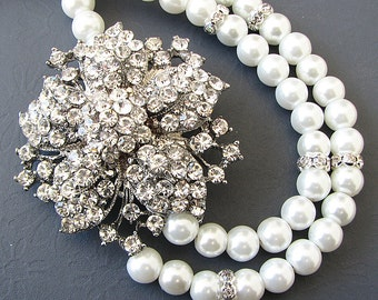 Statement Necklace Wedding Necklace Bib Necklace Bridal Jewelry Pearl Necklace