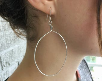 Handmade silver hammered hoop earrings