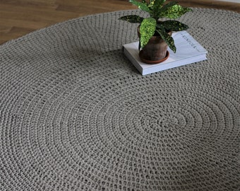Natural Linen Rug, Round Rug, Scandinavian rug, Crochet rug, Nursery rug, living room rug, floor rug, area rug, knitted rug, linen carpet