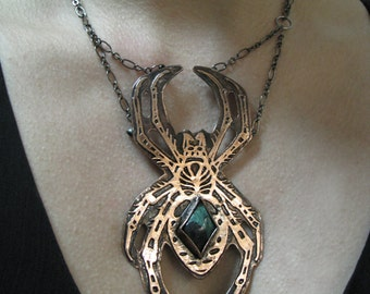 Garden Spider Necklace  Hand drawn and Etched copper  One of a kind made by hand in Austin, Tx- handmade in Austin, Tx