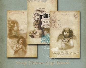 Vintage Christmas Angel Postcards Digital Download