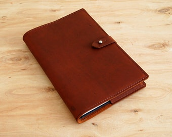 """Refillable Leather Journal, Tan Oil Tan Leather, 8-1/2"""" X 5-1/2"""", Ready to Ship"""