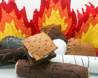Kid's Pretend Campfire Play Set: Fire Logs Smores