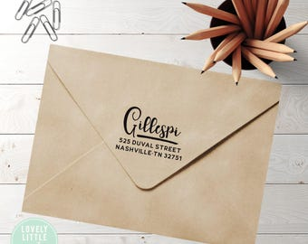 Modern custom return address stamp, self inking stamp or wood handle style 762 - Lovely Little Party