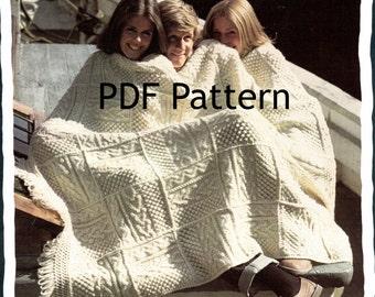 Fishermen Knit Afghan, Classic Granny Square, Fair Isle Afghan, Shannon Vintage 1972, Snuggie Blanket, Pattern Digital Download