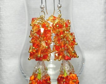 Red and Orange Earrings, Cone Bead Earrings,Crystal Drop Earrings,Colorful Earrings,Flower Earrings,Unique,OOAK, Long Dangles - FIRE FLY