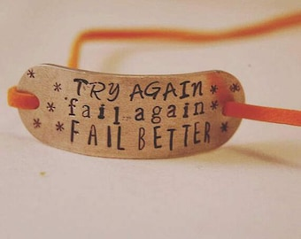 Try Again Fail Again Fail Better Aluminium Faux Suede Wrap Bracelet - Hand Stamped Bracelet - Gift for Her - Jewellery - Personalise