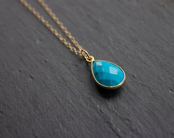 Faceted Turquoise Teardrop Necklace on 14k Gold Filled Chain