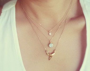 Tiny Crystal Drop Necklace - Minimalist CZ Crystal Necklace