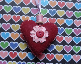 Burgundy Handmade Heart Ornament by Pepperland