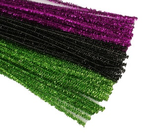 HALLOWEEN Set of 75 Metallic Tinsel Chenille Pipe Cleaners for Kids Crafts