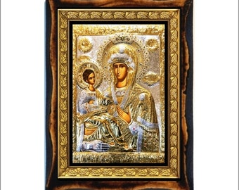 """Virgin Mary of the three hands - Mother of God of """"the Three Hands"""" Handmade wood icon on plaque Orthodox , Catholic, Roman Art"""