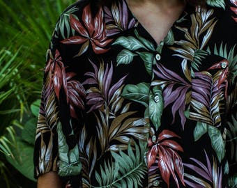 Hawaiian tropical jungle button up top