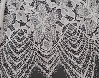 Ivory lace fabric, Embroidered lace, French Lace, Wedding Lace, Bridal lace, White Lace, Veil lace, Lingerie Lace, Alencon Lace SA7979