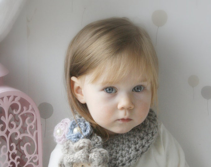 CROCHET PATTERN bulky headband Britney with flowers (toddler, child, adult sizes)