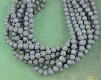 Steel Blue Gray Smooth Glass 10mm Rounds - Full 16 inch Strand
