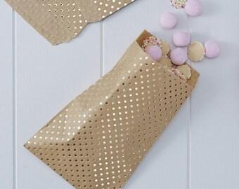 Treat Bags, Gold & Kraft Polka Dot Treat Bag, 25 bags,  7 x 9, Rustic wedding, Country party