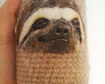 Sloth felted can cozy needle felted