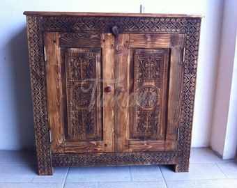Rustic Orient Antique Look Cabinet Cupboard Dresser Bookcase Hand Carved Solid Wood Handcrafted Wooden