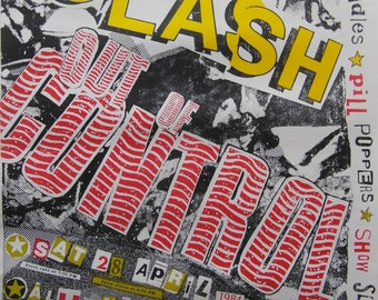 Rare Original 1984 The Clash U.S.A  'Out of Control' Tour Poster